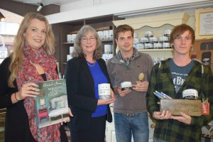 Megan Noble, Cllr Janet Walton, Leader of the Council, Borough of Poole, James Irvine and Brenden Frankham promoting their paint range in On the Green Interiors located in Ashley Cross